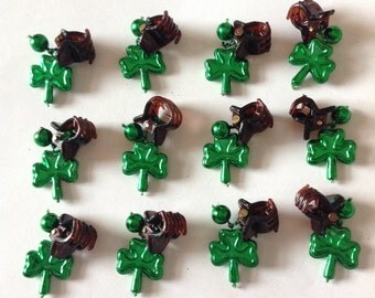 Beard On A Budget St Patrick's Day Shamrock Beard Art Baubles Beard Ornaments Handmade Baubles Ultra Mini Pins or Mini Clips  MADE IN USA