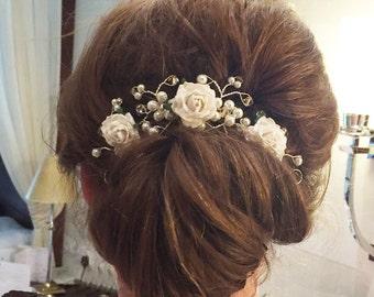 Mulberry Flower Hair Vine - Hair Up Bun - Bridal Hair Accessory - Boho Summer Wedding