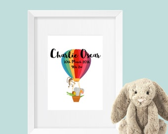 Personalised New Baby Print Hot Air Balloon & Animals