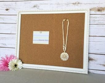 White framed bulletin board - shabby chic decor - framed cork board