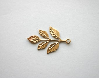 4 pc. Five Leaf Branch Raw Brass - 37mmmx19mm Made in US leaves woodland nature fall