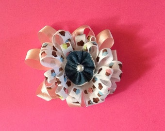 Hairbow pink with jean flower