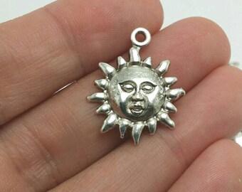BULK 30 Sun Charms, Silver Sun Charms, Summer Charms, Bulk Charms (5-1101)