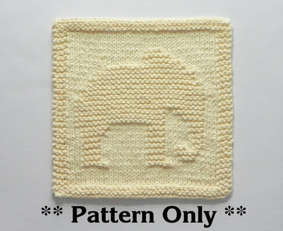 Easy Elephant Knitting Pattern : ELEPHANT Knit PATTERN Instant Download Knit Dish Cloth
