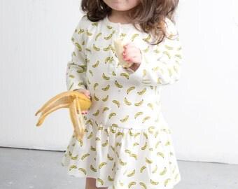 Banana Long Sleeve Organic Dress
