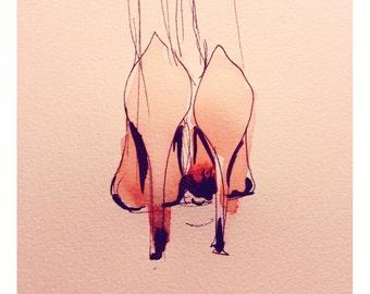 Flamingo Heels Stillettos Fashion Wall Art Print
