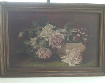 Antique 1800's Roses Oil Painting on Canvas Lovely! Vintage Still Life