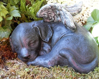Black Lab, Dog Angel Statue,Angel Dog Statue,Dog Memorial,Black Labrador