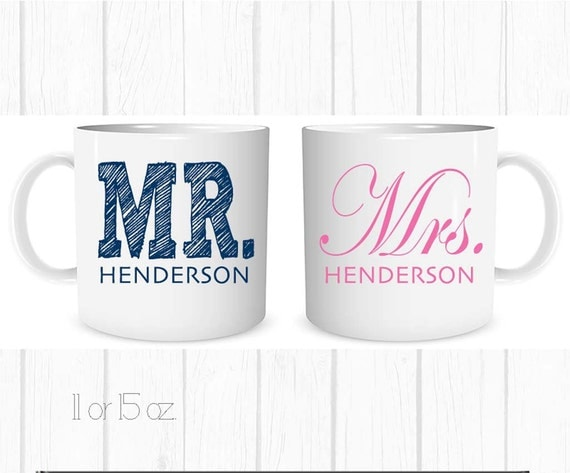 Personalized Mugs, Set of 2, Wedding Gift, Bridal Shower Gift, Wedding ...