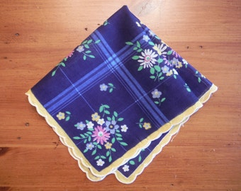 Vintage Floral Scalloped Hankie - Vintage Flower Flowers Pastel Navy Blue Hankie - Small Flowers Plaid Blue Hankie