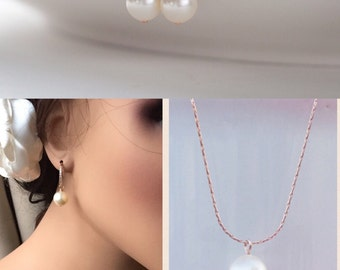 Diamond pearl earrings single pearl earrings simple bridal jewelry pearl drop earrings blush bridesmaid pearl earrings rose gold pearl