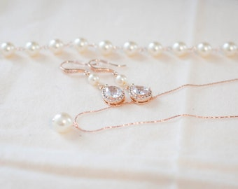 Pearl bridal jewelry set rose gold pearl and cubic zirconia jewelry set wedding bridal set rose gold pear shaped bridal jewelry pink jewelry