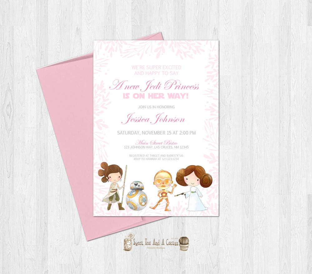star wars baby shower invitation jedi princess girls sci fi
