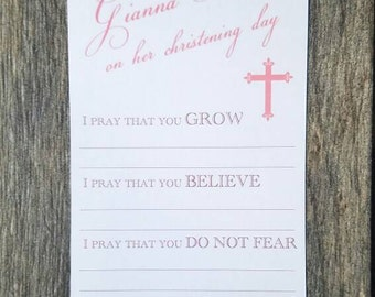 Prayers for Baby - Customized with name/date - Baptism/Christening card for guests to fill out - Set of 35