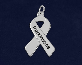 10 Parkinson's Disease Silver Ribbon Charms (10 Charms)(C-29-PK)