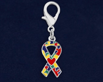 25 Autism Ribbon with Heart Hanging Charms (25 Charms) (HC-P40-2)