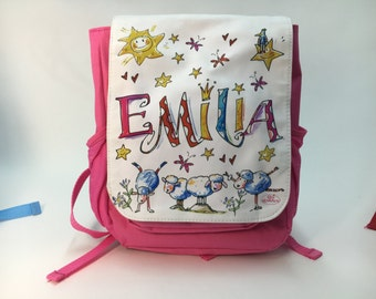 Kindergarten backpack with name, pink