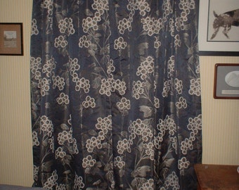 "Croscill Paloma DRAPES Curtains Navy Rod Pocket Panels Embroidered with Biege Flowers each 42"" W x 84"" Lined 4 Panels Available"