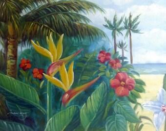 Vintage Tropical Landscape Palm Tree Painting Artist Signed Original Art Framed