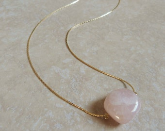 Rose Quartz Gold Necklace