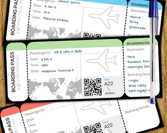 Boarding Card Style Customisable Gift Voucher · Instant DOWNLOAD · 7x3Word · DIY Doc · 3 Colors · Custom Colours
