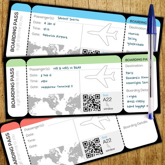 Boarding Card Style Customisable Gift Voucher Instant