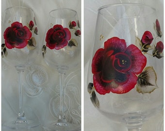 Hand painted wine glasses with red roses,  hand painted goblet, handpainted glasses, personalised wine glass,  handpainted wine glasses