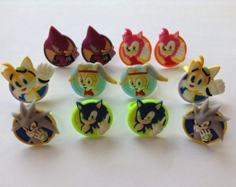 Sonic the Hedgehog Rings Party Favors Cupcake Toppers 12 Pieces