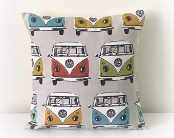 "Handmade VW Camper Van  Cushion Cover 16""  Cotton Pillow"