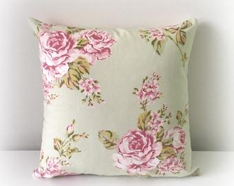 "Handmade Flora Sage Floral Cushion Cover Pillow 16""  Cotton"