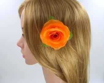 3 Pcs Orange Rose Hair Clip,Orange Rose Hair Pins,Silk Fabric Flower Hair Clip Pins,Women Girls Hair Accessories,Wedding Floral Headpiece
