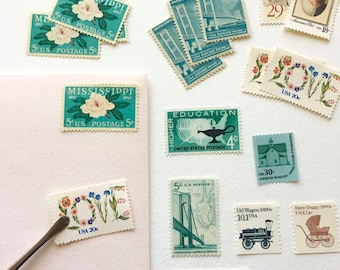 Curate Your Own Set of Stamps - 10+ Stamps of Your Choice - Vintage Unused Postage Stamps
