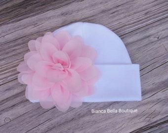 Newborn Baby Hospital Hat Pink Newborn Hat Girl Newborn Hat Baby Hat Beanie Hat Flower Beanie Hat