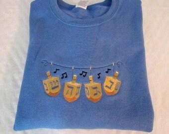 Hanukkah Sweatshirt, Dreidel Sweatshirt, Chanukah Dreidel Embroidered Sweatshirt