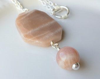 Silver Sunstone Necklace, Sunstone Pendant, Silver Necklace, Gemstone Necklace, Artisan Necklace, Silver Pendant, Sunstone Jewelry