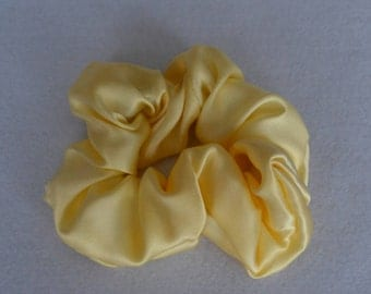 New Yellow Pure silk hair scrunchie, 100% mulberry charmeuse, Hair Accessories Hypoallergenic Sensitive for hair care