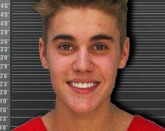 Justin Bieber Mug Shot 2014 Photo - Giclee Print