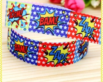 "Superhero Slogans Ribbon 22mm 7/8 "" Cake Decoration Pram Clips Hairbow Ribbons Party Favors Superhero Ribbon Bam Zap Boom Ribbon"