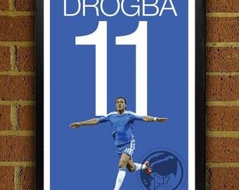 Didier Drogba 11 Poster - Chelsea FC - Côte d'Ivoire Soccer Poster- 8x10, 13x19, poster, art, wall decor, home decor, premier league