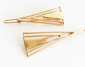 2 set hair pin hair decoration geometric triangle hair bobby pin