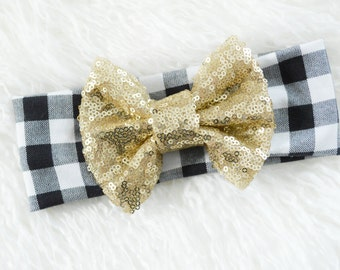 Large Gold Checkered Sparkle Bow