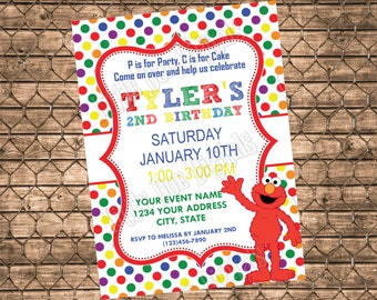Personalized Elmo Birthday Party Invitation - Digital File - Boy or Girl Invitation - Sesame Street - 5x7 or 4x6 - Primary Polka Dot