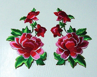 One pair peony flower applique embroidery patch DIY Accessories applique vintage floral patches