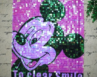 Mickey sequins patch applique vintage paillette patch T-shirt or Coat cartoon decoration patch