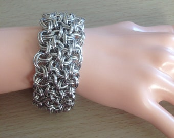 Chainmaille Cuff Bracelet - Wide Chainmaille Bracelet