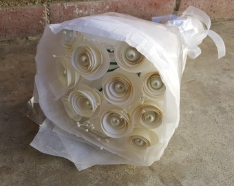 One Dozen White Spiral Origami Roses with Pearl Centers - One Dozen Roses - Paper Anniversary - Paper Flowers - Roses - Wedding Bouquet