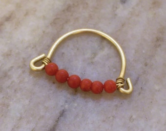 Beaded coral ring