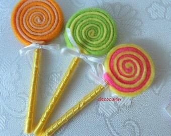 Felt Food, Felt Lollipops, eco friendly children pretend party play food for toy kitchen, montessori toy, Birthday Gift, Felt Ornament Decor