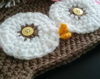 Cute Crochet Girl Owl hat
