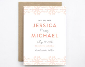 Wedding Save the Date - Bohemian Flowers Pink and Gray - Card & Envelope